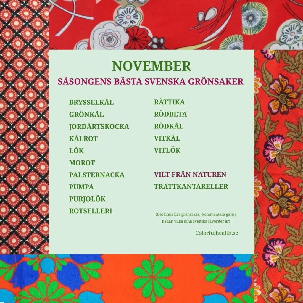 Säsongens bästa grönsaker November