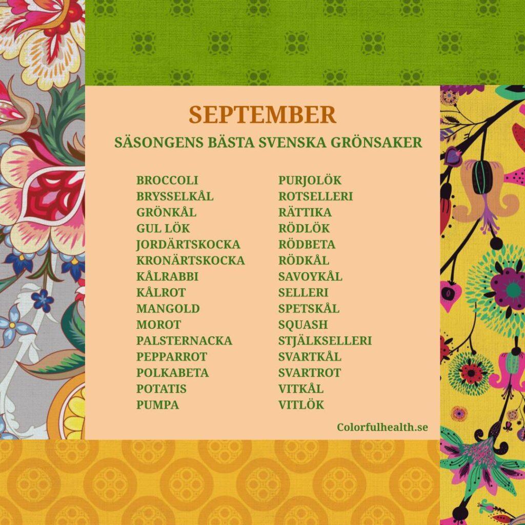 Svenska grönsaker september