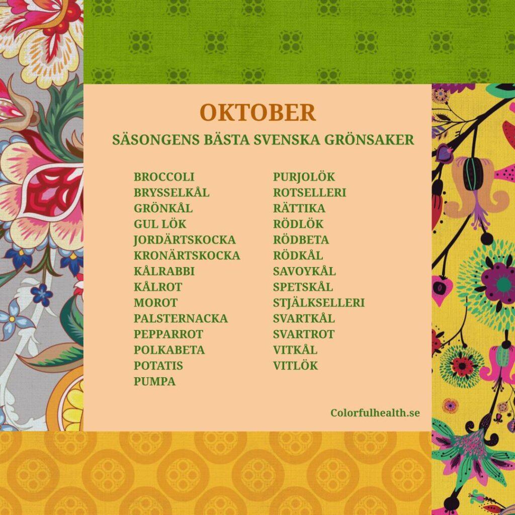 Säsongens bästa grönsaker oktober